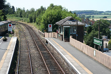 Okehampton Station -View west-south-west towards Meldon from the passenger footbridge copyright Martin Bodman